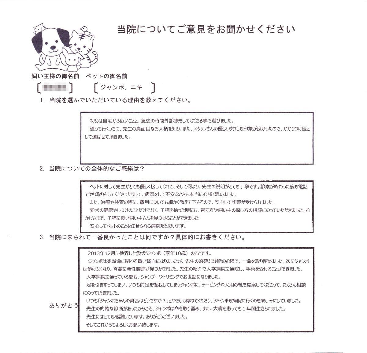 宮崎市 U様  ジャンボ、ニキちゃん